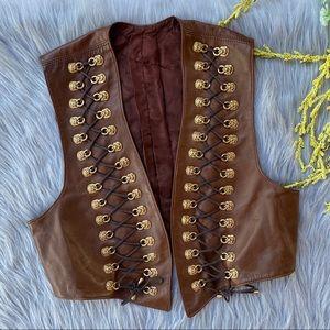 VTG Brown Leather Vest Gold Lion Door  Knocker